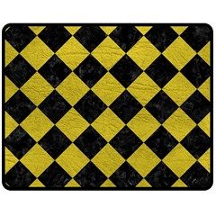 Square2 Black Marble & Yellow Leather Double Sided Fleece Blanket (medium)