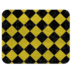 Square2 Black Marble & Yellow Leather Double Sided Flano Blanket (medium)