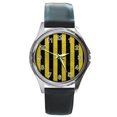 Stripes1 Black Marble & Yellow Leather Round Metal Watch