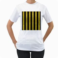 Stripes1 Black Marble & Yellow Leather Women s T Shirt (white) (two Sided)