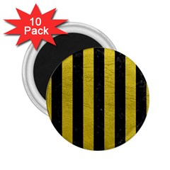 Stripes1 Black Marble & Yellow Leather 2 25  Magnets (10 Pack)