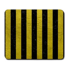 Stripes1 Black Marble & Yellow Leather Large Mousepads