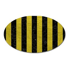 Stripes1 Black Marble & Yellow Leather Oval Magnet