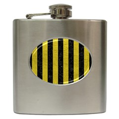 Stripes1 Black Marble & Yellow Leather Hip Flask (6 Oz)