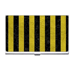 Stripes1 Black Marble & Yellow Leather Business Card Holders