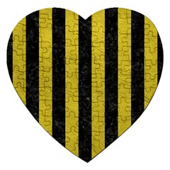 Stripes1 Black Marble & Yellow Leather Jigsaw Puzzle (heart)