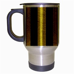 Stripes1 Black Marble & Yellow Leather Travel Mug (silver Gray)