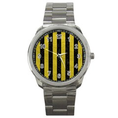 Stripes1 Black Marble & Yellow Leather Sport Metal Watch