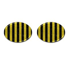 Stripes1 Black Marble & Yellow Leather Cufflinks (oval)