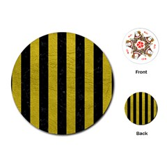Stripes1 Black Marble & Yellow Leather Playing Cards (round)