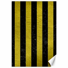 Stripes1 Black Marble & Yellow Leather Canvas 12  X 18