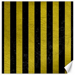 Stripes1 Black Marble & Yellow Leather Canvas 16  X 16