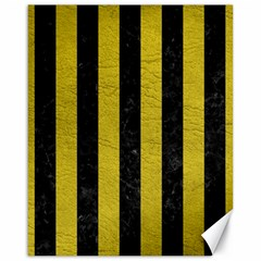 Stripes1 Black Marble & Yellow Leather Canvas 16  X 20
