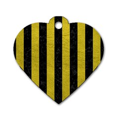 Stripes1 Black Marble & Yellow Leather Dog Tag Heart (two Sides)