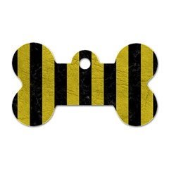 Stripes1 Black Marble & Yellow Leather Dog Tag Bone (two Sides)