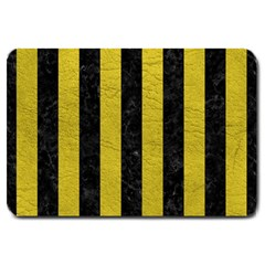 Stripes1 Black Marble & Yellow Leather Large Doormat