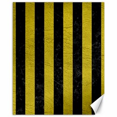 Stripes1 Black Marble & Yellow Leather Canvas 11  X 14