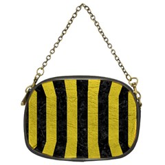 Stripes1 Black Marble & Yellow Leather Chain Purses (two Sides)