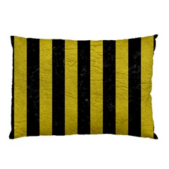 Stripes1 Black Marble & Yellow Leather Pillow Case