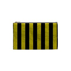 Stripes1 Black Marble & Yellow Leather Cosmetic Bag (small)