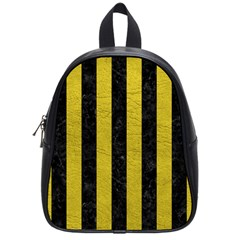 Stripes1 Black Marble & Yellow Leather School Bag (small)
