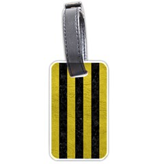 Stripes1 Black Marble & Yellow Leather Luggage Tags (two Sides)