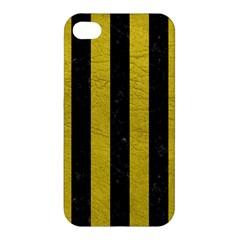 Stripes1 Black Marble & Yellow Leather Apple Iphone 4/4s Hardshell Case