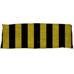 Stripes1 Black Marble & Yellow Leather Body Pillow Case Dakimakura (two Sides)