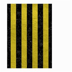 Stripes1 Black Marble & Yellow Leather Small Garden Flag (two Sides)