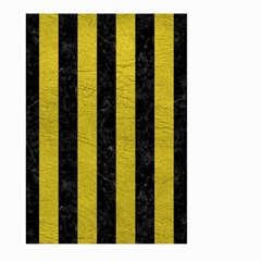 Stripes1 Black Marble & Yellow Leather Large Garden Flag (two Sides)