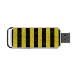 Stripes1 Black Marble & Yellow Leather Portable Usb Flash (two Sides)