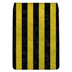Stripes1 Black Marble & Yellow Leather Flap Covers (l)