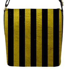 Stripes1 Black Marble & Yellow Leather Flap Messenger Bag (s)