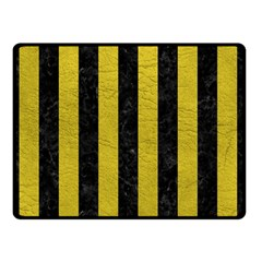Stripes1 Black Marble & Yellow Leather Double Sided Fleece Blanket (small)
