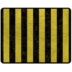 Stripes1 Black Marble & Yellow Leather Double Sided Fleece Blanket (medium)