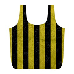 Stripes1 Black Marble & Yellow Leather Full Print Recycle Bags (l)