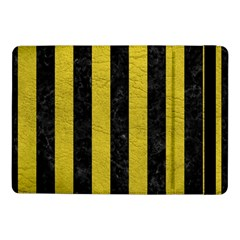 Stripes1 Black Marble & Yellow Leather Samsung Galaxy Tab Pro 10 1  Flip Case