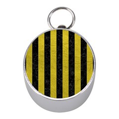 Stripes1 Black Marble & Yellow Leather Mini Silver Compasses