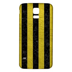 Stripes1 Black Marble & Yellow Leather Samsung Galaxy S5 Back Case (white)