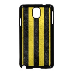 Stripes1 Black Marble & Yellow Leather Samsung Galaxy Note 3 Neo Hardshell Case (black)
