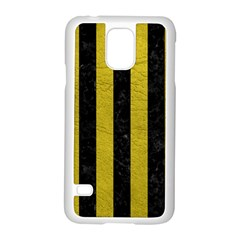 Stripes1 Black Marble & Yellow Leather Samsung Galaxy S5 Case (white)