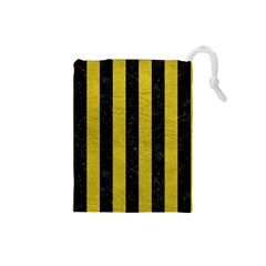 Stripes1 Black Marble & Yellow Leather Drawstring Pouches (small)