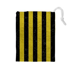 Stripes1 Black Marble & Yellow Leather Drawstring Pouches (large)