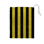 STRIPES1 BLACK MARBLE & YELLOW LEATHER Drawstring Pouches (Large)  Front