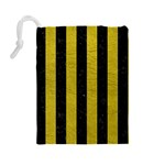 STRIPES1 BLACK MARBLE & YELLOW LEATHER Drawstring Pouches (Large)  Back