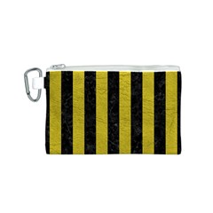 Stripes1 Black Marble & Yellow Leather Canvas Cosmetic Bag (s)