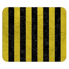 Stripes1 Black Marble & Yellow Leather Double Sided Flano Blanket (small)