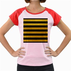 Stripes2 Black Marble & Yellow Leather Women s Cap Sleeve T Shirt