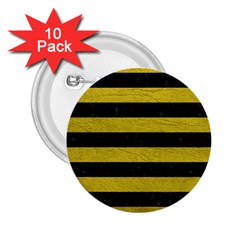 Stripes2 Black Marble & Yellow Leather 2 25  Buttons (10 Pack)