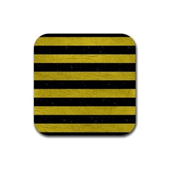 Stripes2 Black Marble & Yellow Leather Rubber Coaster (square)